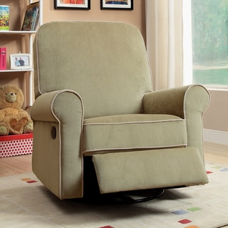 Madison Moss Green Fabric Nursery Swivel Glider Recliner Chair