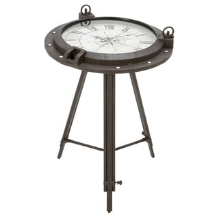 Casa Cortes Industrial Metal Round Clock Coffee Table