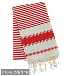 Authentic Fouta Natural Cotton Multi-Striped Bath and Beach Towel (Tunisia)