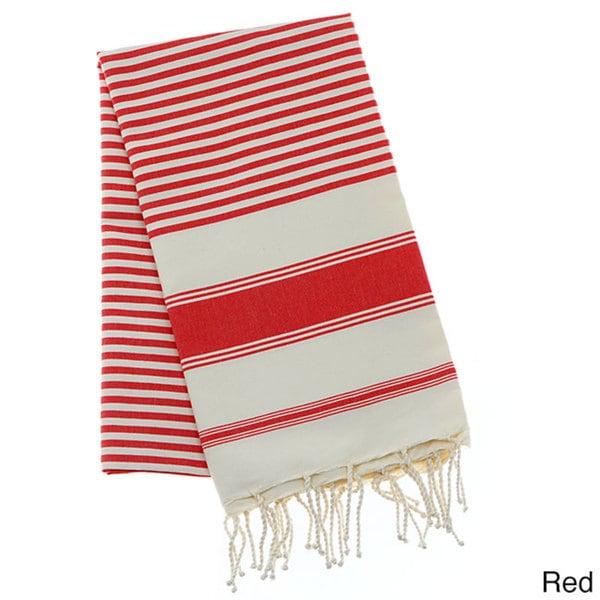 Authentic Fouta Natural Cotton Multi-Striped Bath and Beach Towel (Tunisia)