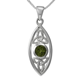 Sterling Silver Celtic Knot Round Natural Peridot Gemstone Necklace (Thailand)
