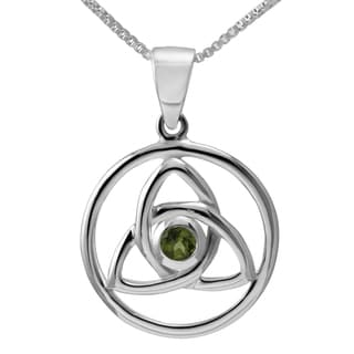 Sterling Silver Celtic Knot Design Round Natural Peridot Gemstone Necklace (Thailand)