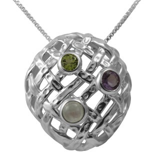Sterling Silver Filigree Tri-Stones Peridot-Amethyst-Moonstone Necklace (Thailand)