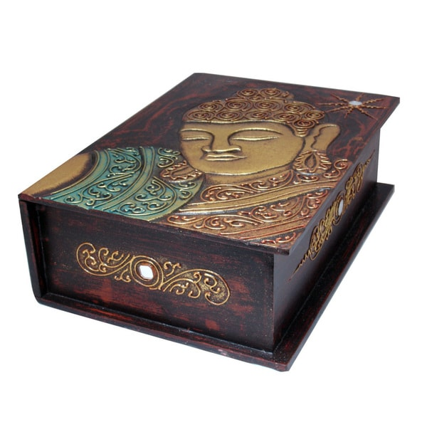 Gold Accented Hand-Carved Buddha Book-Style Storage Box (Indonesia)
