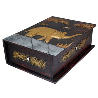 13-Inch Carved Elephant Book Style Box (Indonesia)