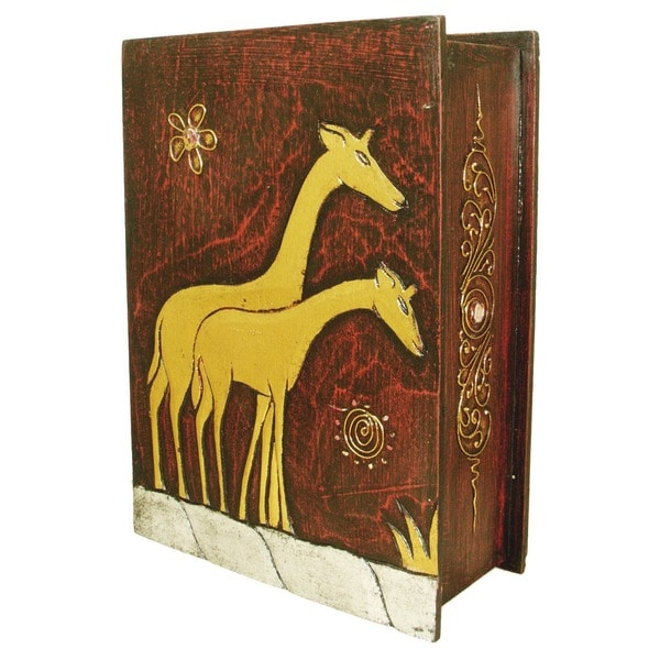 Handmade 13-Inch Carved Giraffe Book Style Box (Indonesia) 11022085
