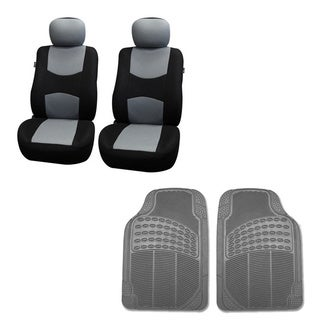 FH Group Gray Combo Set Front Bucket Seat Covers and Front Floor Mats