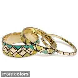 Brass Geometric Set of 3 Bracelets (India)
