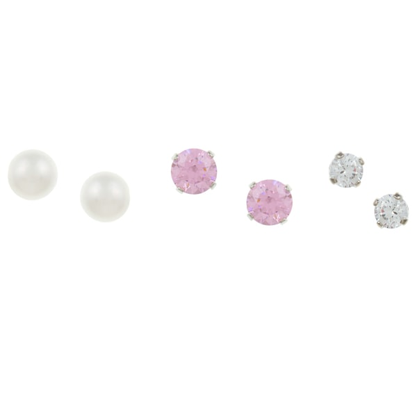 Sunstone Silver FW Pearl Stud Earring Set made with Swarovski Zirconia with Gift Box