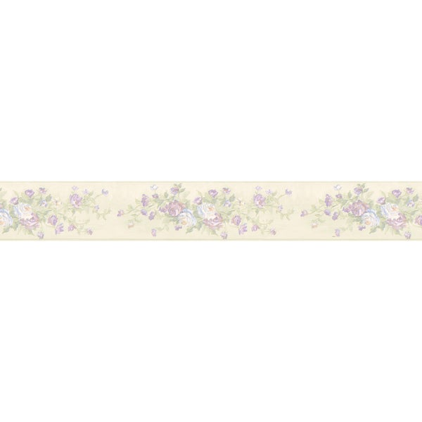 Brewster Lavender Rose Border Wallpaper
