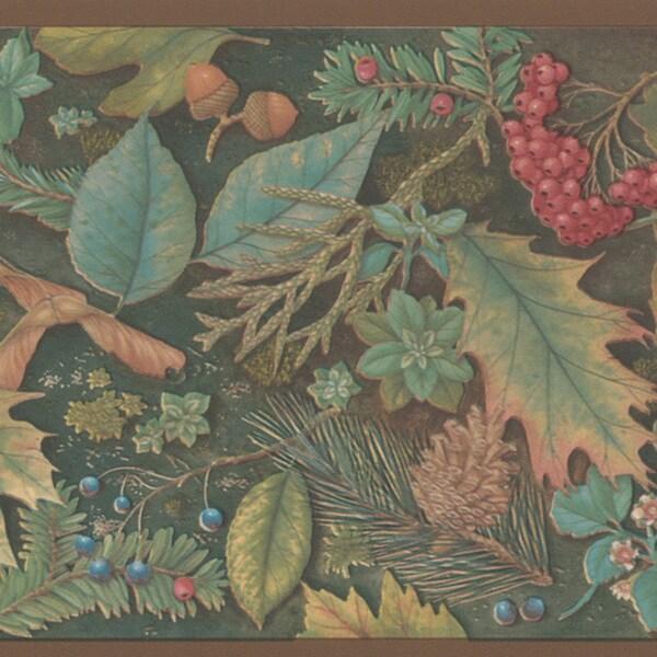Brewster Green Forest Border Wallpaper