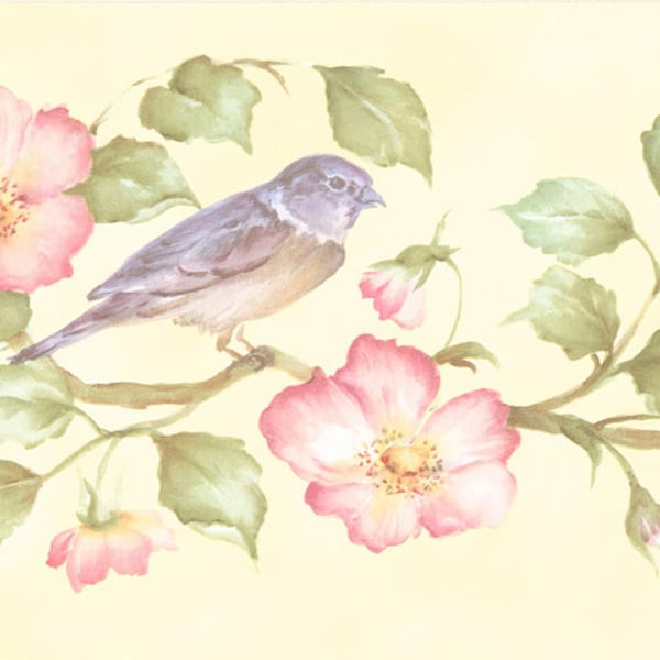 Brewster Violet Wild Rose Bird Border Wallpaper