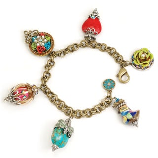 Sweet Romance Bronzetone 'My Trip to Cabo' Glass and Crystal Bracelet
