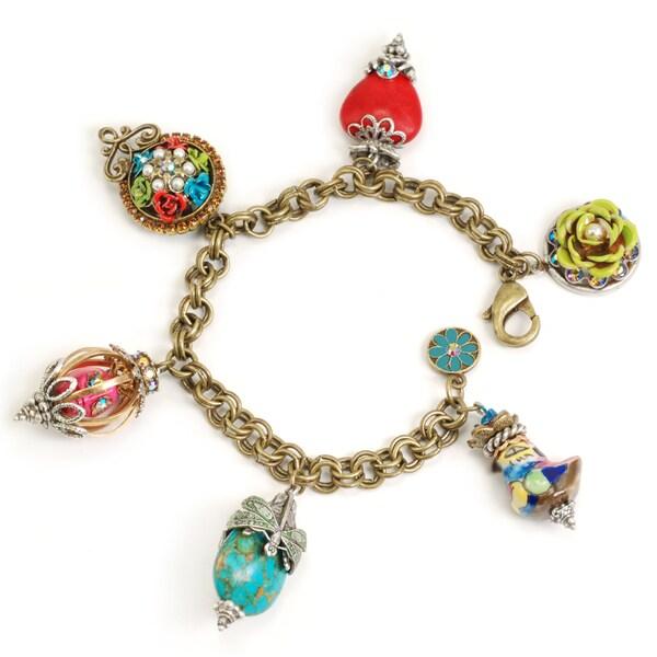 Sweet Romance Bronzetone 'My Trip to Cabo' Glass and Crystal Bracelet