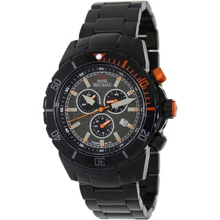 Swiss Precimax Men's 'Pursuit Pro' Black/ Orange Swiss Chronograph Watch
