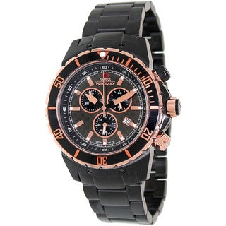 Swiss Precimax Men's 'Pursuit Pro' Black/ Rose Goldtone Swiss Chronograph Watch