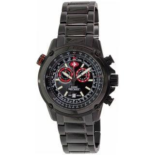 Swiss Precimax Men's Squadron Pro Black Steel Chronograph Watch with Red Subdials