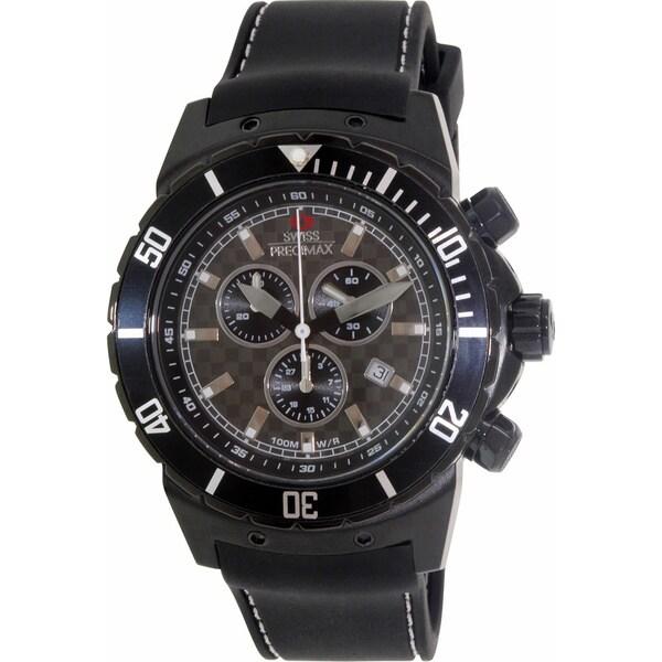 Swiss Precimax Men's 'Pursuit Pro Sport' Black Silicone Strap Swiss Chronograph Watch