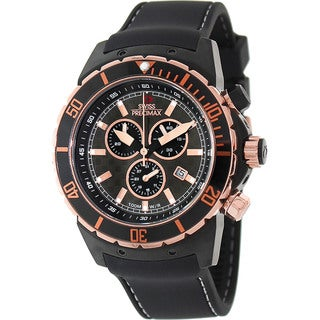 Swiss Precimax Men's 'Pursuit Pro Sport' Black/ Rose Goldtone Swiss Chronograph Watch