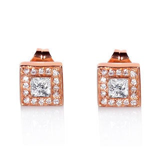 Annello 14k Rose Gold 1/2ct TDW Diamond Halo Earrings (G-H, SI1-SI2)