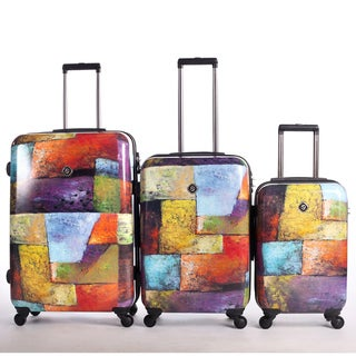 Neocover Old Tyme Squares 3-piece Hardside Spinner Luggage Set