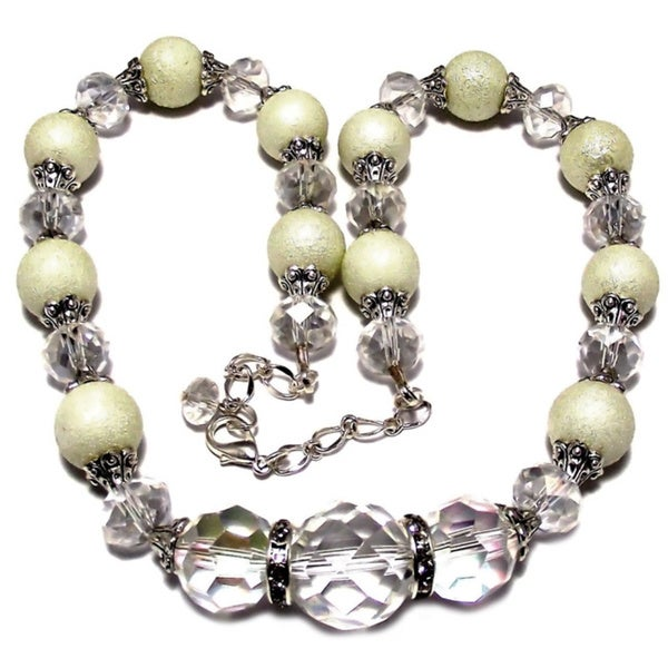 Silverplated Cream Glass Pearl and Clear Crystal Jewelry Set