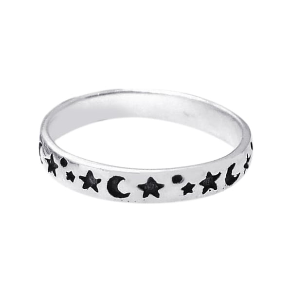 Evening Sky Moon and Star Band Sterling Silver Ring (Thailand)