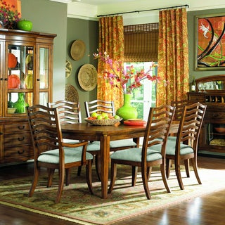 Golden Oak Veneer Dining Table with 20-inch Leaf