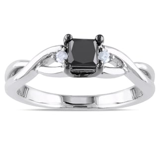 Haylee Jewels Sterling Silver 2/5ct TDW Black and White Diamond Ring (H-I, I2-I3)