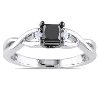 Miadora Sterling Silver 2/5ct TDW Black and White Diamond Ring (H-I, I2-I3)
