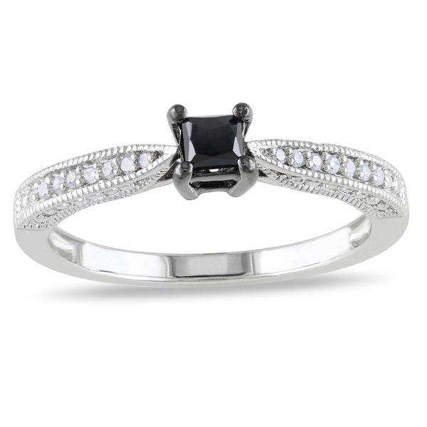 Haylee Jewels Sterling Silver 1/3ct TDW Black-and-white Princess-cut Diamond Ring (H-I, I2-I3)
