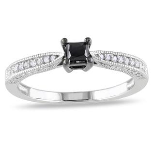 M by Miadora Sterling Silver 1/3ct TDW Black-and-white Princess-cut Diamond Ring (H-I, I2-I3)