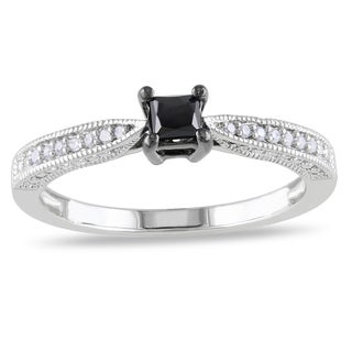 Miadora Sterling Silver 1/3ct TDW Black-and-white Princess-cut Diamond Ring (H-I, I2-I3)