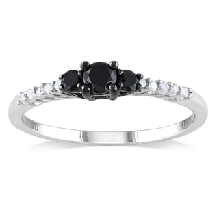 Miadora Sterling Silver 1/3ct TDW Black-and-white Prong-set Diamond Ring (H-I, I2-I3)