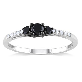 Haylee Jewels Sterling Silver 1/3ct TDW Black-and-white Prong-set Diamond Ring (H-I, I2-I3)