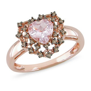 Miadora 10k Rose Gold Morganite and 1/10ct TDW Brown Diamond Ring