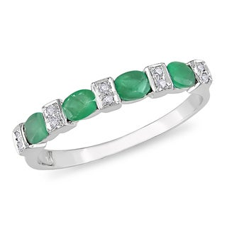 Miadora 10k White Gold Emerald and Diamond Ring