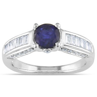 Miadora 14k White Gold Round-cut Sapphire and 1/2ct TDW Diamond Ring (G-H, I1-I2)