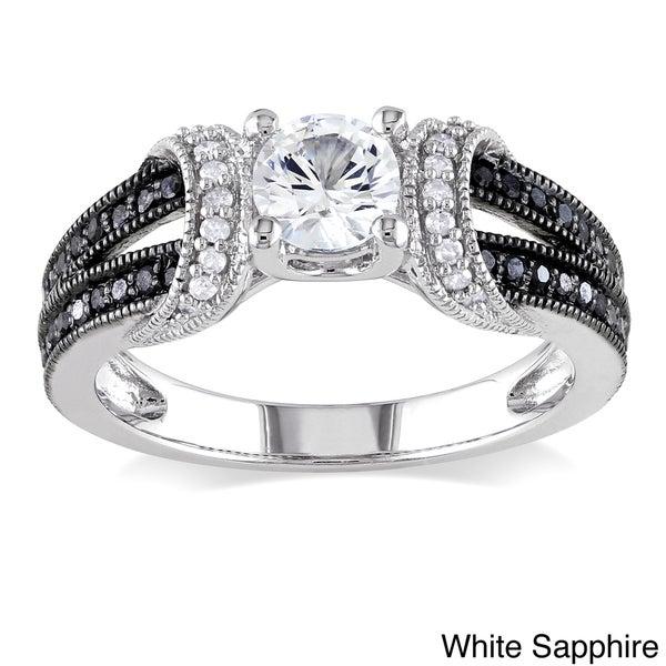 Miadora Silver Sapphire or Morganite and 1/4ct TDW Diamond Ring (H-I, I2-I3)