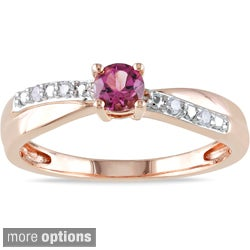 Miadora Rose-plated Silver Tourmaline or Morganite and Diamond Ring