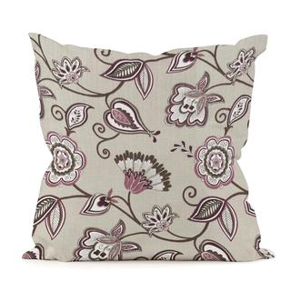 Avignon Eggplant Floral Scroll Throw Pillow