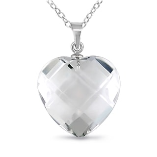 M by Miadora Sterling Silver Crystal Faceted Heart Necklace