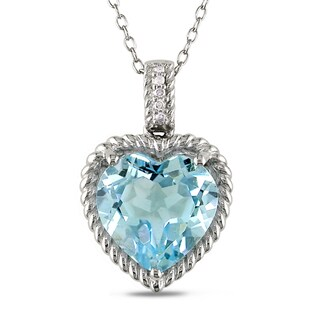 Miadora Sterling Silver Blue Topaz and Diamond Heart Necklace