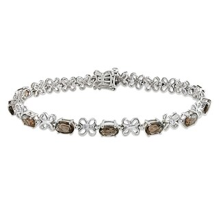Miadora Sterling Silver Smokey Quartz and Diamond Bracelet