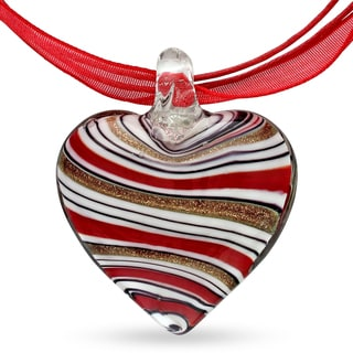 M by Miadora Glass Heart and Red Ribbon Necklace