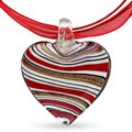 Miadora Glass Heart and Red Ribbon Necklace