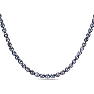 Miadora Black Freshwater Pearl Necklace (5-5.5 mm)