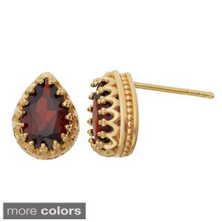 Gioelli Gold over Silver Pear-cut Gemstone Crown Earrings