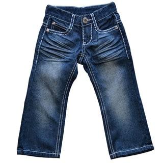 Girls White Stitch Bootcut Jeans