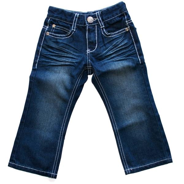 Boys White Stitch Bootcut Jeans